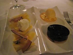 tropical salad, orange sherbert and tarte
