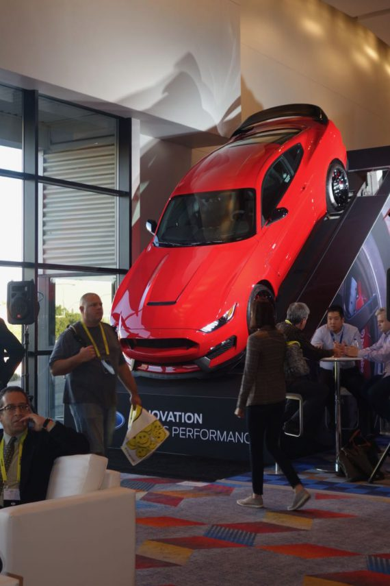"""Cars made lots of news at CES, and this Shelby GT350 Mustang in the second-floor Sands Expo lobby attracted lots of attention. It features """"the most powerful naturally aspirated Ford production engine ever&quot.  Photo by Diane Taylor"""