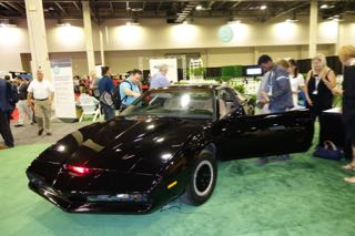"""As a crowd-pleaser, an original Pontiac Trans Am from the Knight Rider TV show was on display at the CTIA show. The Knight Rider talking """"car of the future""""  had many TV features that are now being implemented and envisioned by today's car manufacturers. Photo by Diane Taylor"""