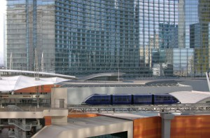 CityCenter's sleek blue tram links the property with the Monte Carlo and the Bellagio