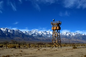 The reconstructed guard tower can be seen from US Highway 395