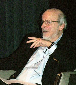 E. L. Doctorow answers questions following his talk<br><em>Photo by Mark Sedenquist</em>
