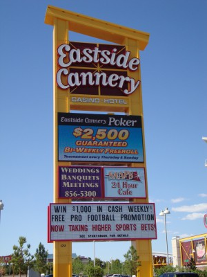 The Eastside Cannery marquee is very big.