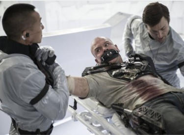 Max DeCosta (Matt Damon) is outfitted in preparation for his trip to space station Elysium. Photo: y Kimberley French – © 2012 Columbia TriStar Marketing Group, Inc.