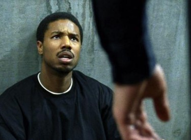 Oscar Grant III (MIchael B. Jordan) tries to reason with the transit cop who is attacking him. Photo: ©2013 The Weinstein Company