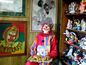 Bozo the Clown greets visitors in the lobby of the Clown Motel.Photo by Osie Turner