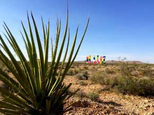 A view of the sculpture from the desert.Photo by Osie Turner