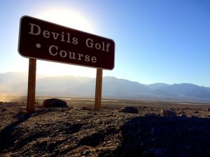 The sign for Devil's Golf Course. The road is unpaved to the more striking areas but seemed to be pretty good condition.Photo by Osie Turner