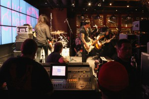 Alice Cooper and his band rocking out inside the John Varvatos store at the Hard Rock Hotel