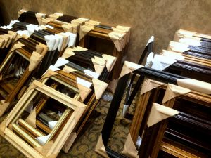 Some of the frames waiting to be paired with a work of art.Photo by Osie Turner