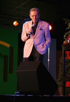 The legendary comedian Norm Crosby performing at the new Las Vegas Rocks Cafe