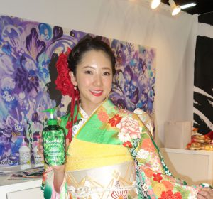 Her name is Yuki and aside from being a model for the Reveur brand of hair products, she is also a board member of the 10-year-old Japanese company making its first appearance at Cosmoprof.  Photo by Diane Taylor