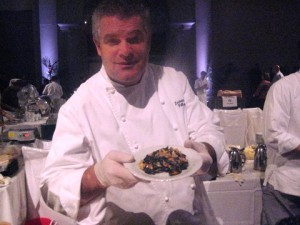 Luciano Pellegrini serves his dish: Lobster Carbonara.