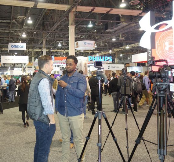 More than 7000 media represented registered for CES; interviews were a common sight.  Photo by Diane Taylor