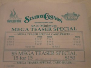 The Mega Teaser point spreads are zany but the payouts are less.
