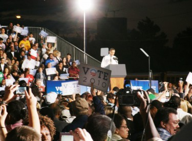 President Obama rallying a crowd of supporters.