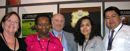 Ardith Blumenthal, Joy Njuguna, Louis Ekaireb, Gilda Muro and Al Muro, of Royal Tea of Kenya