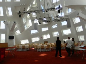 Frank Gehry-designed windows bring lots of daylight comes to the building's Life Activity Center. Photo by Diane Taylor