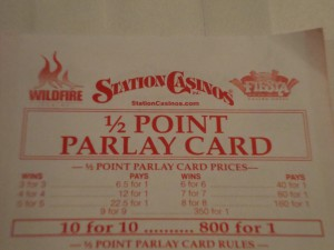 Station Half Point Parlay Card payouts increase exponentially.