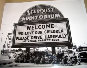 The Variety Club welcomes visitors to Las Vegas on the Stardust marquee in 1960