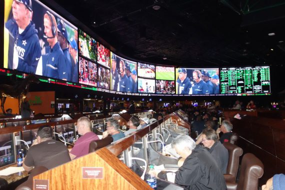 Two weeks ago, the Westgate sports book was one of Las Vegas's most popular spots to watch a football game.  Photo by Diane taylor