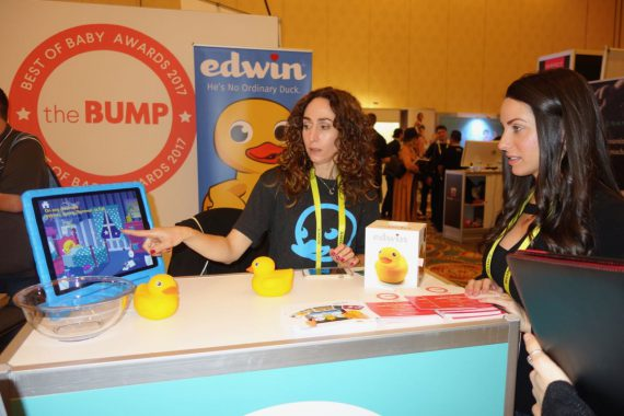 """Edwin the Duck has an app that includes games and sing-along songs. The duck can also serve as a night light and can tell Mom the temperature of a youngster's bath water.  Edwin was called """"the world's first 'Smart Duck'."""