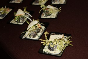 Escargot simmered in garlic beurre blanc.  Delish!