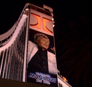 Barry Manilow, larger than life on the Las Vegas Hilton's hotel tower