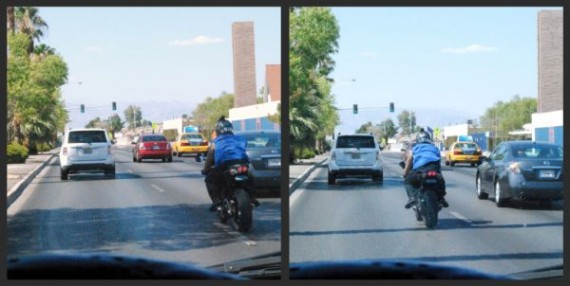 A motorcyclist changes lanes without signaling. <em>Photo by John Robert Taylor</em>