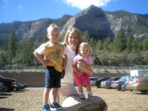 The kids and me enjoying the view from the top of Mount Charleston.