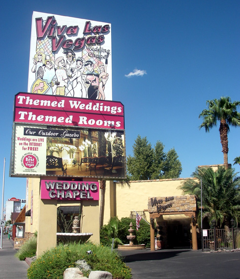 Viva Las Vegas Wedding Chapel Is Located About Halfway Between The Strip And Downtown