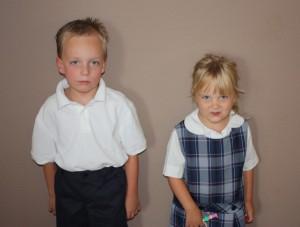 My kids model their new threads. <em>(Photo by Tasha Pittser)</em>