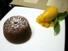 Chocolate cake with mango sorbet